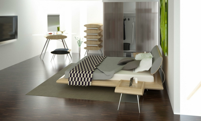 schlafzimmer einrichten colles bett beistelltische teppich