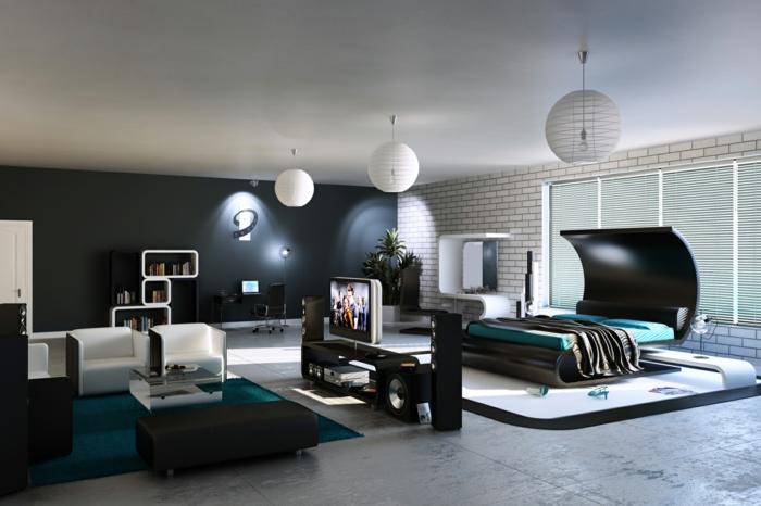 schlafzimmer einrichten colles interieur männlich ziegelwand