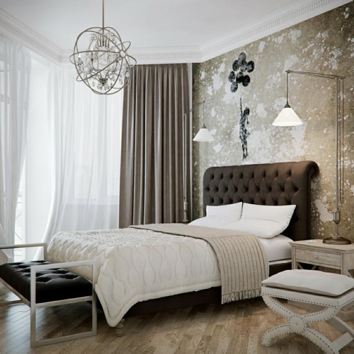 schlafzimmer einrichten coole wandgestaltung toller leuchter