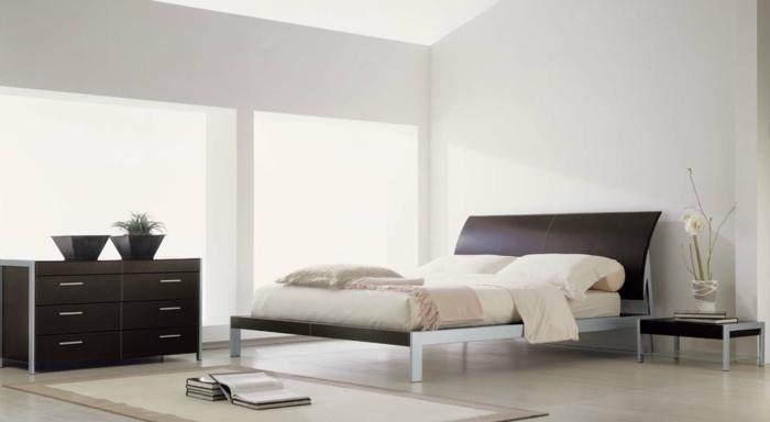 schlafzimmer einrichten teppich elegante kommode beistelltisch