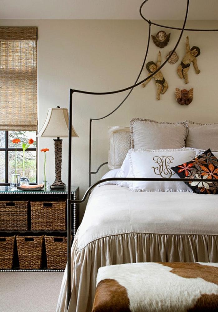 schlafzimmer gestalten mehr stauraum schaffen aufbewahrungskörbe