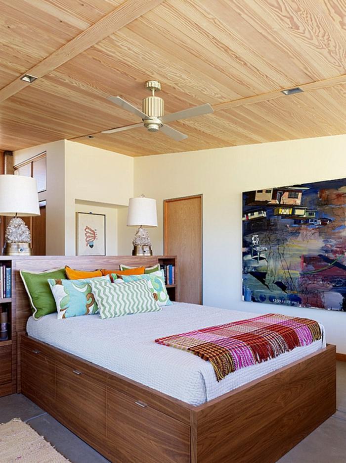 schlafzimmer gestalten mehr stauraum schaffen holzmöbel bett