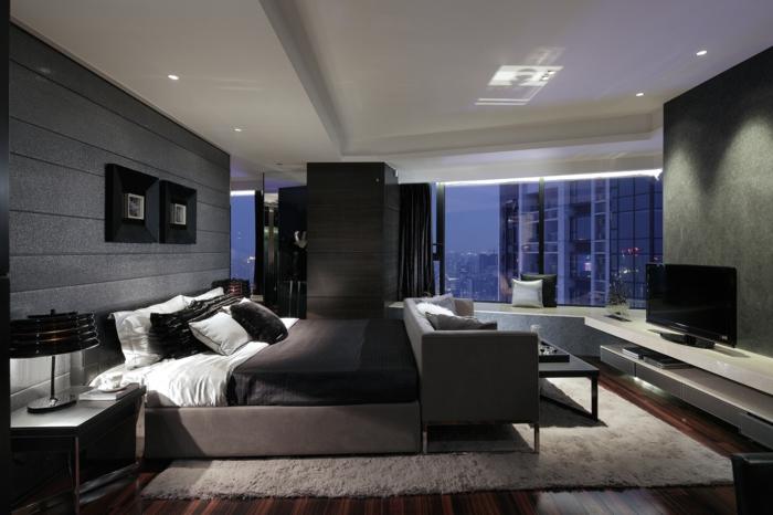 schlafzimmereinrichtung dunkles interieur schwarze gardinen weißer teppich