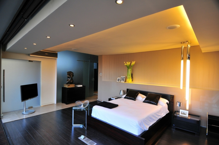 schlafzimmereinrichtung farbkontrast einbauleuchten pflanzen deko