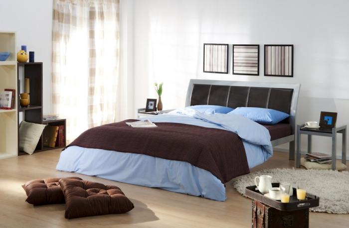 schlafzimmereinrichtung frisch männlich braune bodenkissen