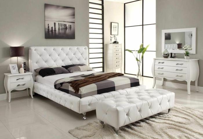 schlafzimmereinrichtung weißes mobiliar schlafzimmerbank kommode