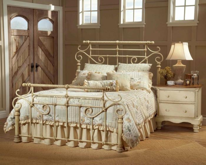 Schmiedeeisen Bett Weißer Rahmen Kopfteil Fußteil Vintage Stil