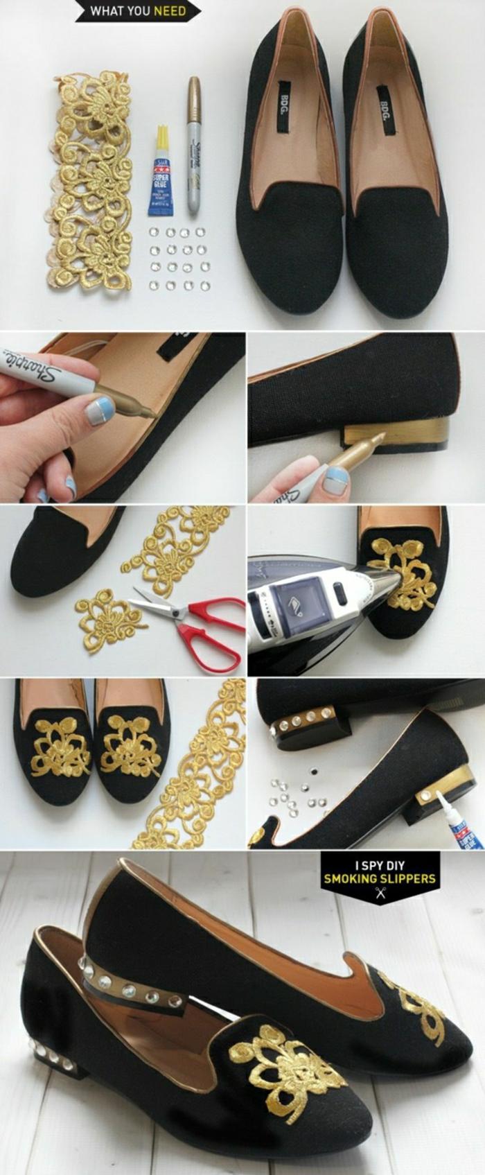 schuhe selber machen schwarze ballerinas goldene spitze glitzersteine