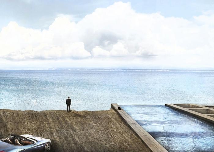 sichtbeton haus brutalismus architektur meer
