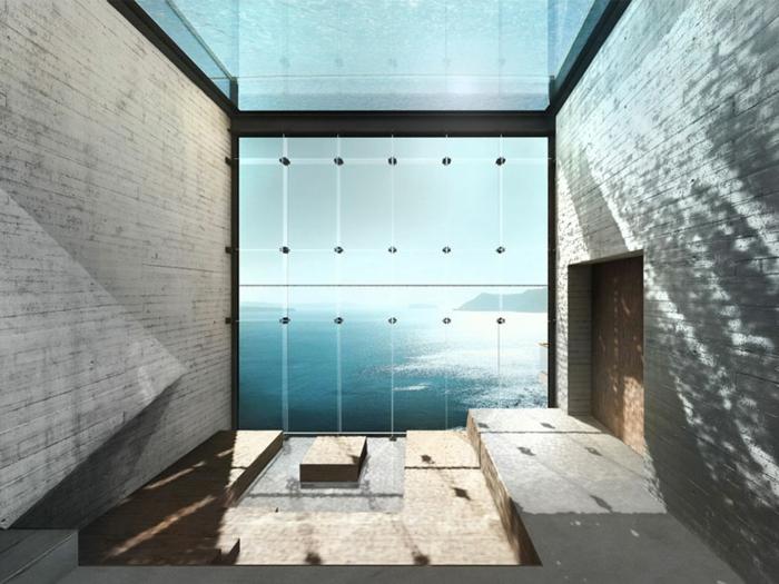 sichtbeton haus panoramafenster wohnzimmer