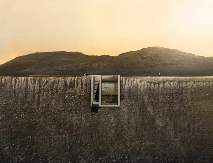 sichtbeton haus unterirdisches bau brutale architektur