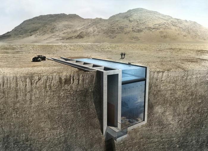 sichtbeton haus wüste brutale architektur
