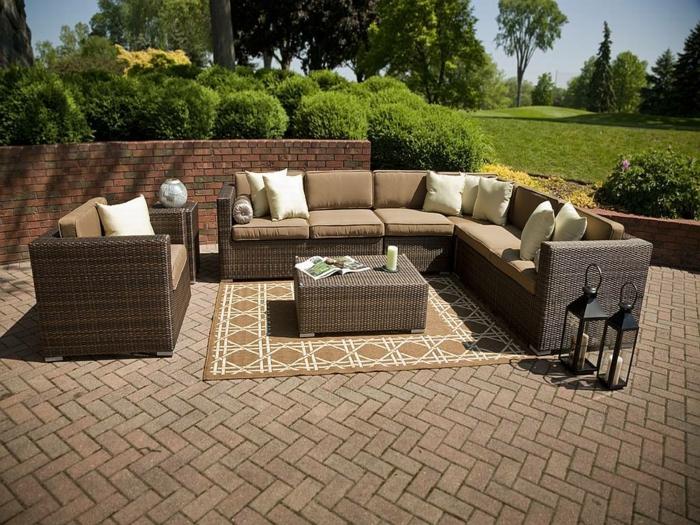 terrasse gestalten außenmöbel teppich frisches muster