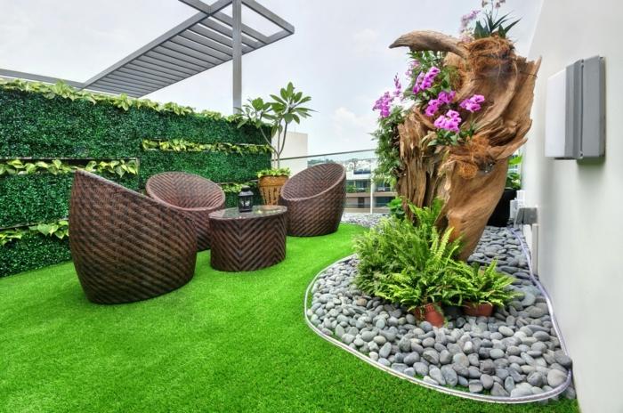 terrasse gestalten ideen elegante außenmöbel dekosteine grüner rasen