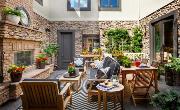 terrasse gestalten teppich zig zag balkonmöbel
