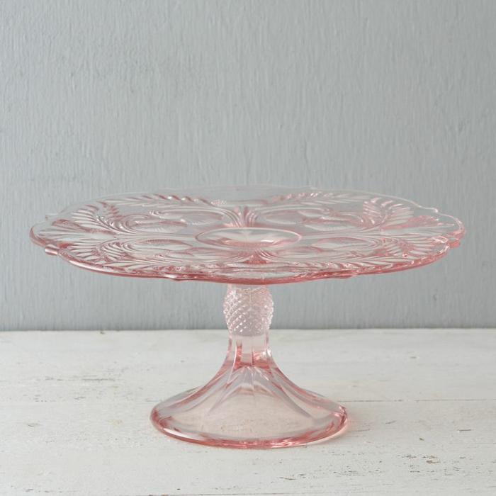 tortenständer retro glas rosa