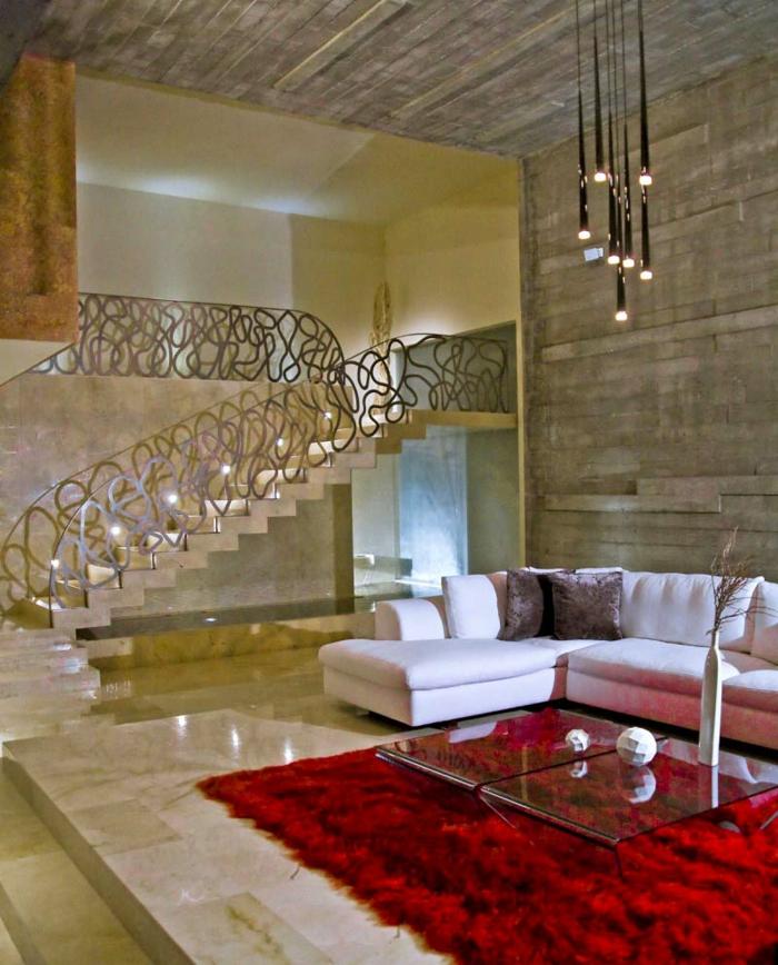 treppenbeleuchtung cooles treppengeländer roter teppich wohnzimmer