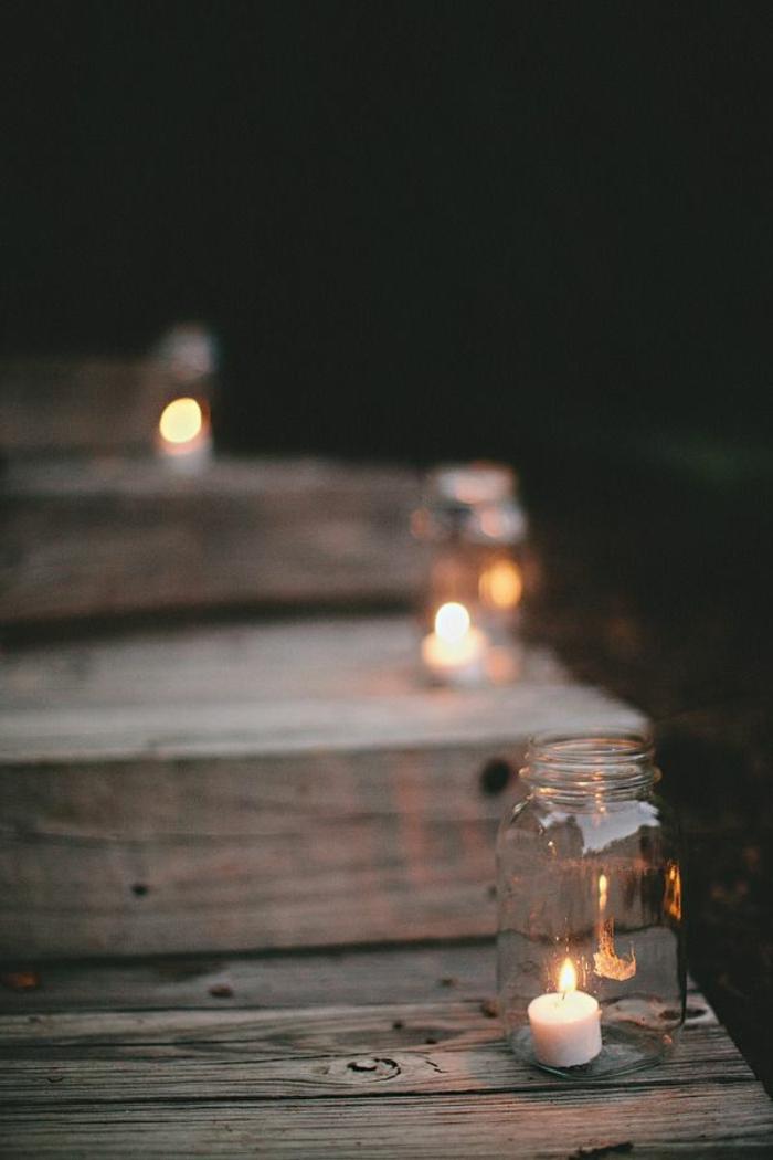 treppenbeleuchtung kerzen einmachglas hölzerne stufen