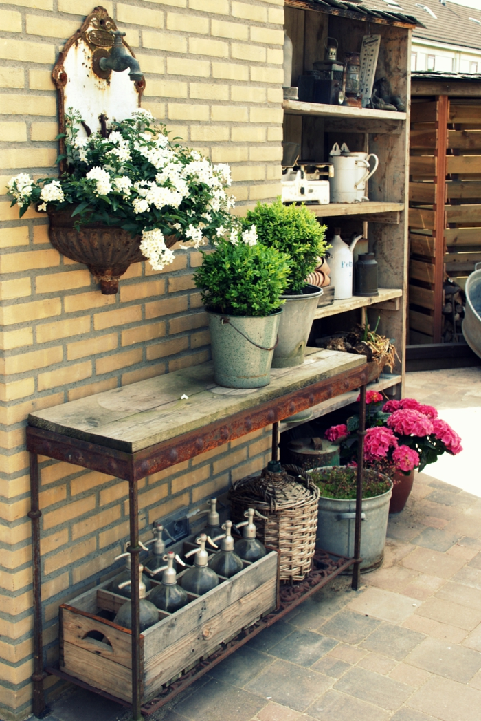 vintage deko garten dekoideen außenbereich pflanzen