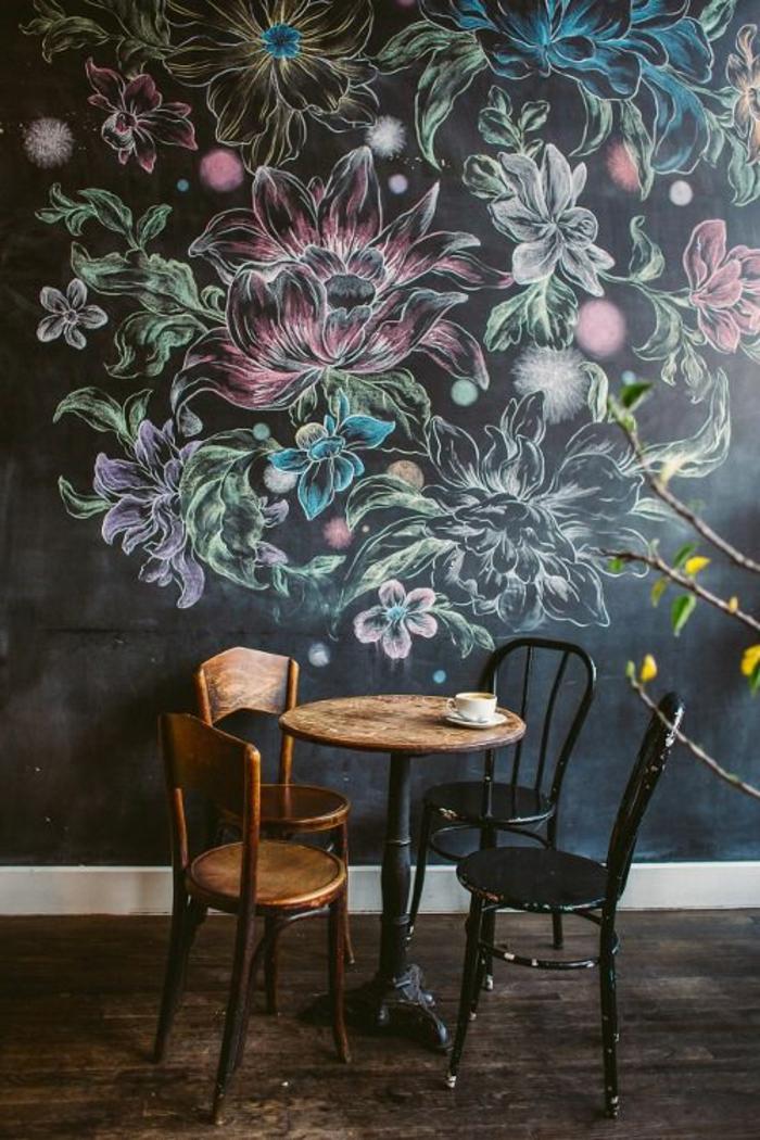wandgestaltung ideen essbereich dekorieren wandmalerei