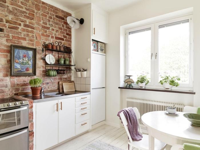 wandgestaltung ideen küche weiße einrichtung ziegelwand pflanzen