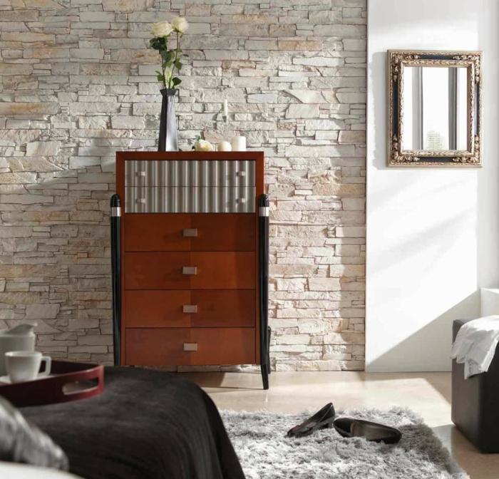 wandgestaltung ideen schlafzimmer elegante steinwand teppich