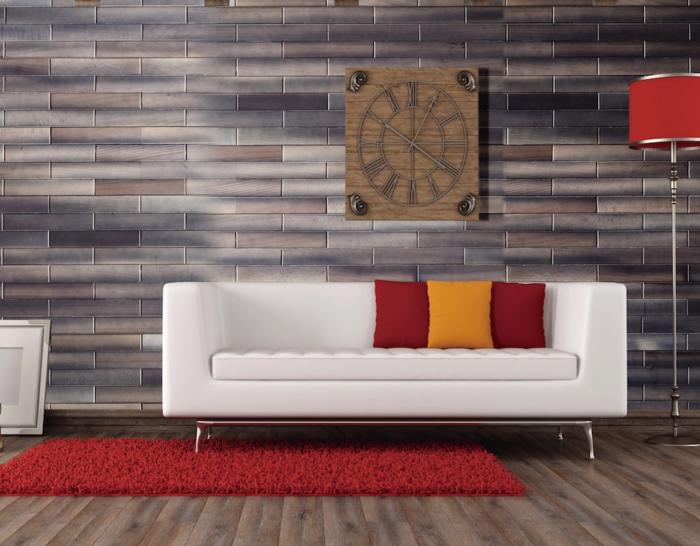 wandgestaltung ideen wohnzimmer 3D wandpaneele roter teppich
