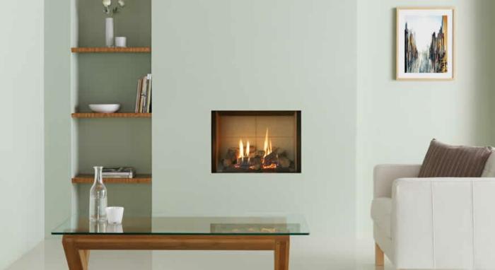 wandkamin minimalistisches design elegantes wohnzimmer