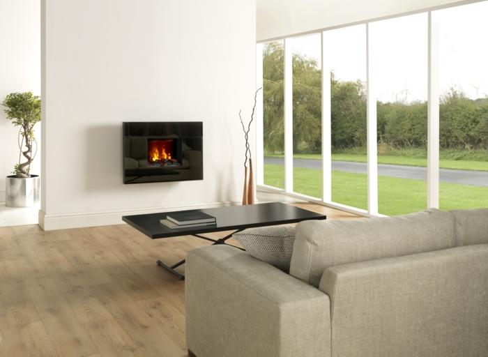 wandkamine elektrischer wandkamin modernes wohnzimmer panoramafenster