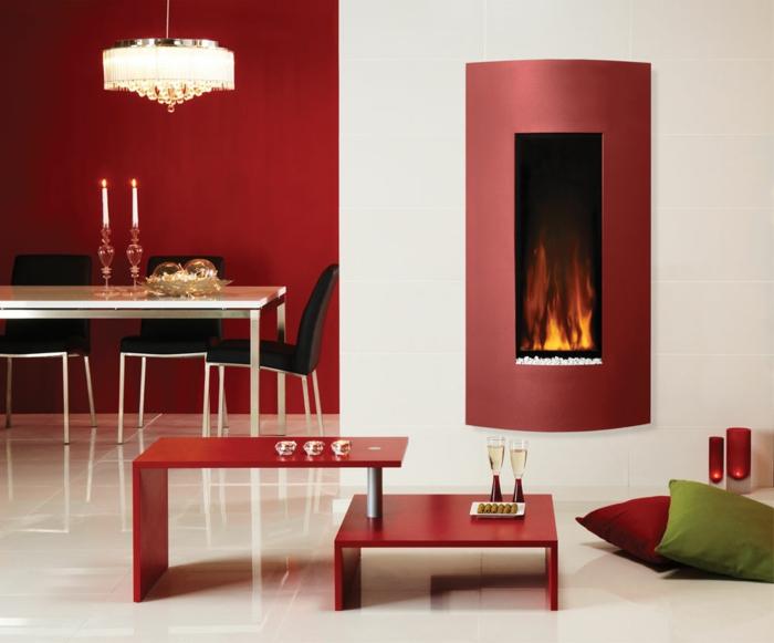 wandkamin offener wohnplan rote wandgestaltung esszimmer wohnbereich