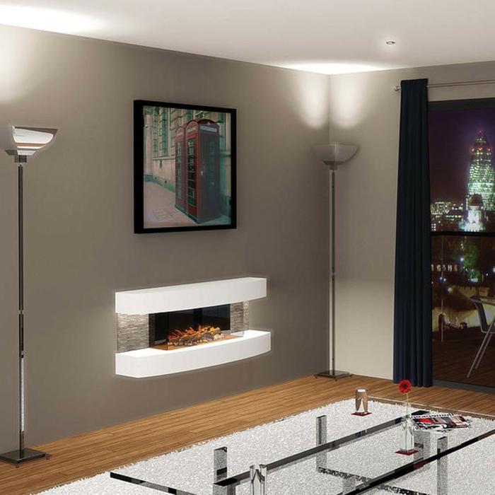 moderne kamine wandkamin wohnzimmer gläserner couchtisch weißer teppich