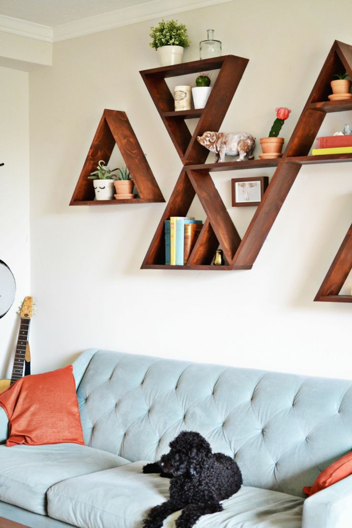wohnzimmer einrichten kreative offene regale