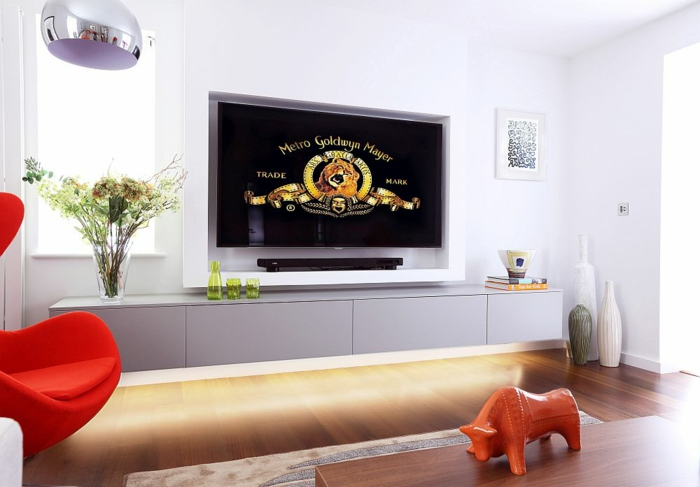 wohnzimmer neu gestalten tv wohnwand flachbildschirmfernseher - Wohnzimmer Neu Gestalten