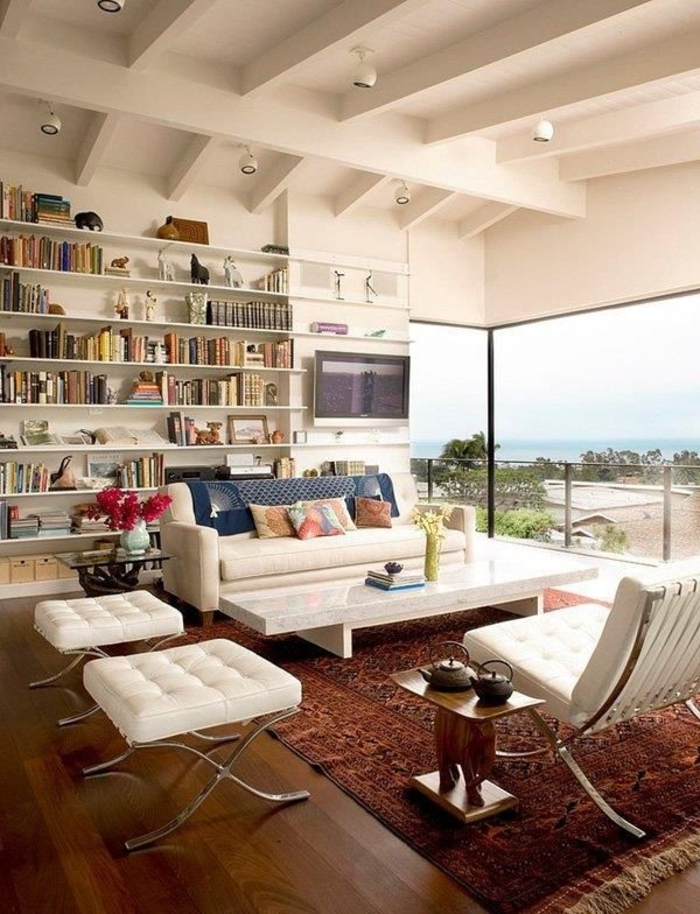 wohnzimmerteppich perserteppich weiße wohnzimmermöbel offene regale