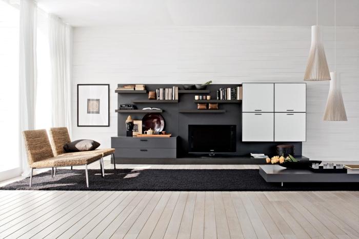 wohnzimmerteppich schwarz stilvoll coole wohnzimmermöbel pendelleuchten