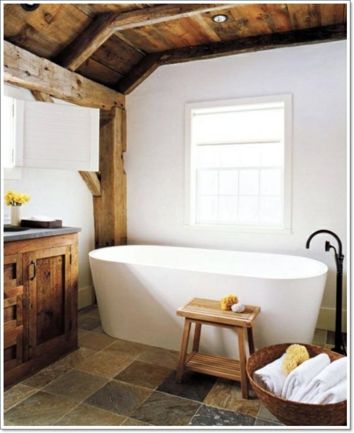 Badezimmer Ideen Wanne waschbecken massiv holz weiss