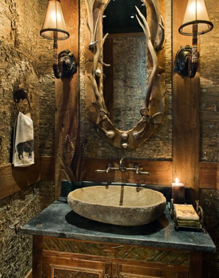 Badezimmer Ideen Wanne waschbecken stein und geweih alt