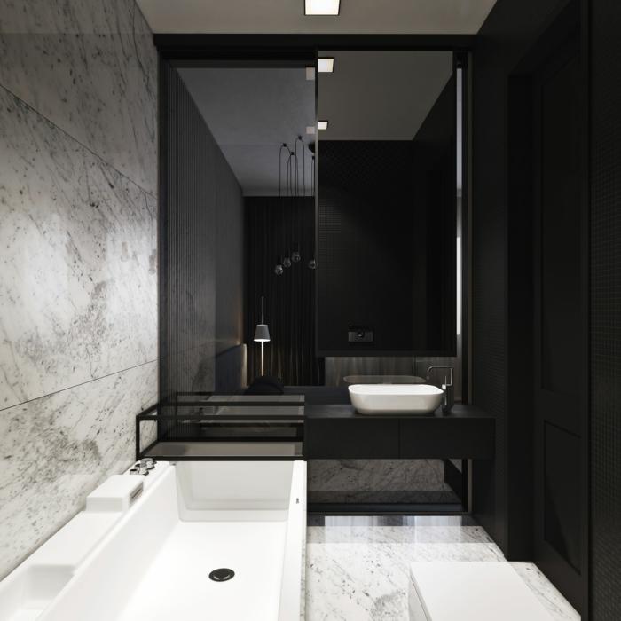Badgestaltung Bad Ideen Badezimmer Schwarz Weiß Edel