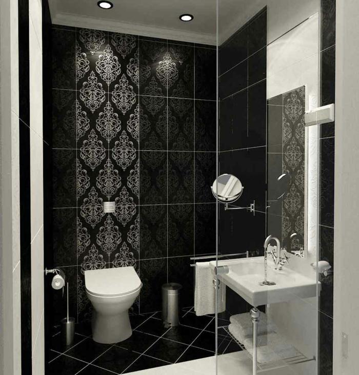 Badgestaltung Bad Ideen Badezimmer schwarz weiß grauer tapete