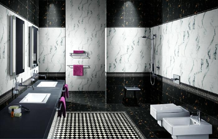 Badezimmer schwarz wei gestaltung mit gegens tzen - Badezimmer schwarz weiay ...