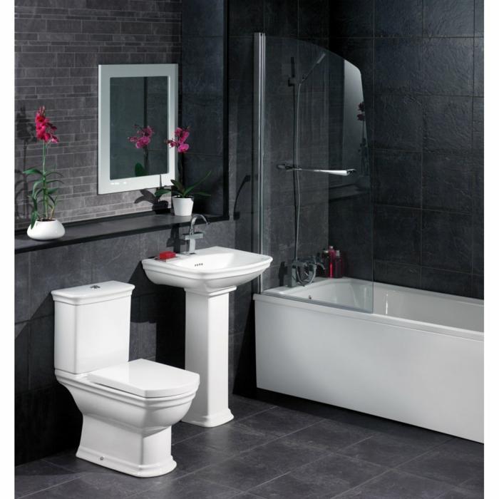 Badgestaltung Bad Ideen Badezimmer schwarz weiß grauer weiss elegant