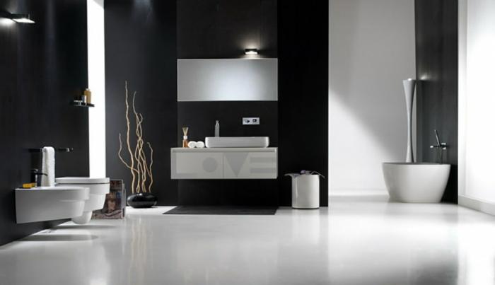 Badgestaltung Bad Ideen Badezimmer schwarz-weiß grauer weiss klasse