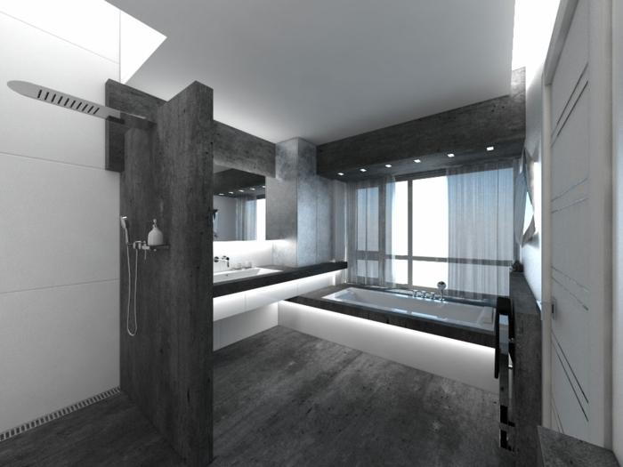 Badgestaltung Bad Ideen Badezimmer  Schwarz Weiß Grauer Weiss Licht Gut