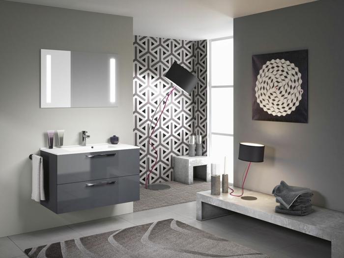 Badgestaltung Bad Ideen Badezimmer schwarz-weiß grauer muster