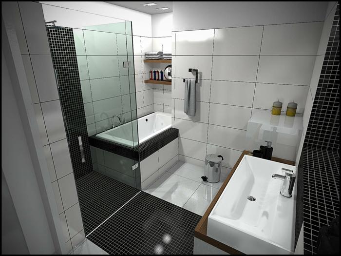 Badgestaltung Bad Ideen Badezimmer schwarz-weiß graue