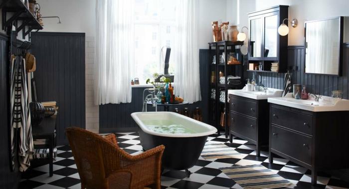 Badgestaltung Bad Ideen Badezimmer schwarz-weiß grauer raffiniert