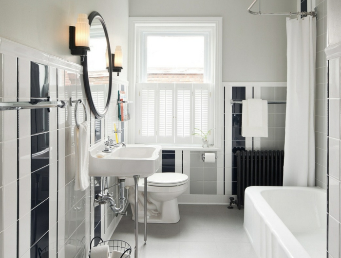 Badgestaltung Bad Ideen Badezimmer schwarz-weiß mehr weiss