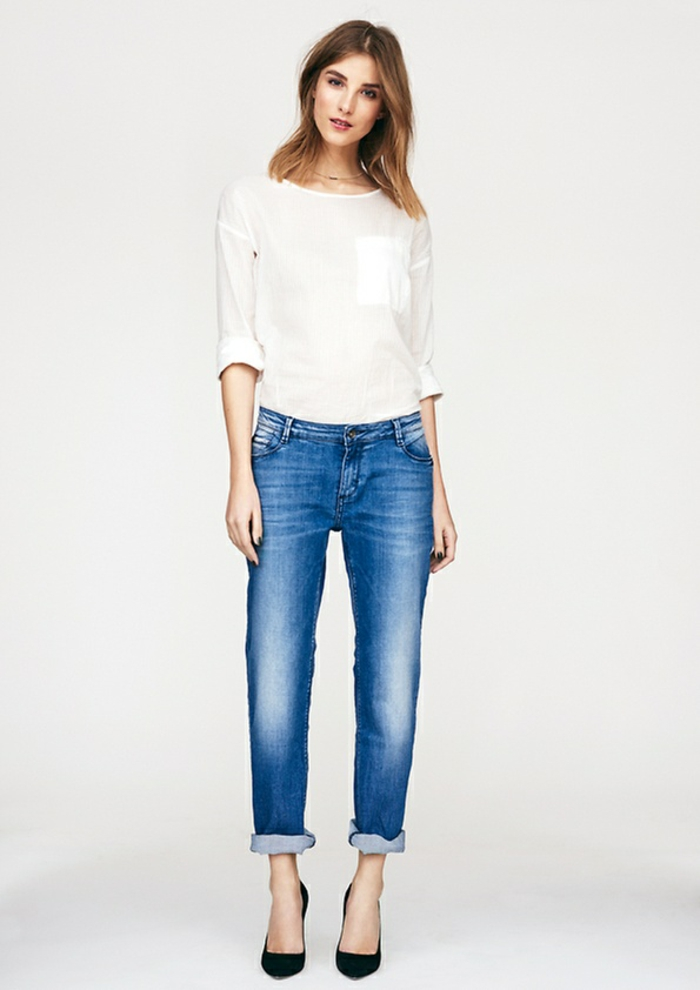 Business Mode Damen More&More business outfit frau jeans bluse absatzschuhe