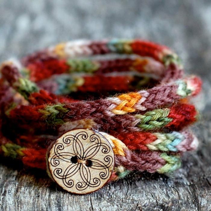 Handgemachter Schmuck armband garn gestrickt