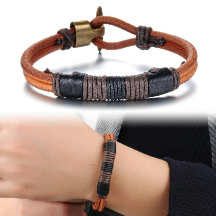 Handgemachter Schmuck armband leder